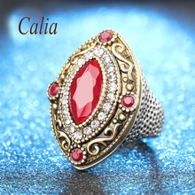 Hot 2016 Fashion Rings For Women Gold Colour Mosaic AAA Resin Red Crystal Finger Ring Aillno Vintage Turkis Jewelry Wholesale