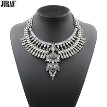 Vintage unique rhinestone choker High quality 2017 Hot sale ethnic chunky pendant necklace statement jewelry