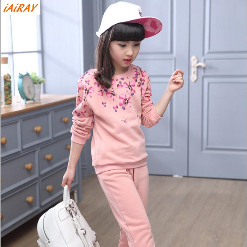 iAiRAY brand new 2017 spring girls clothing sets sport suit children clothes kids tracksuit long sleeve flower sweatshirt pants<br>