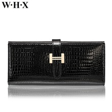 WHX Snakeskin Genuine Leather Wallets Women Long Wallet Female Wallet Lady Coin Purse Pocketbook Billfold Card Money Bag Black(China)