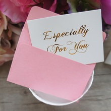 25pcs Mini especially for you Card gold with pink envelope leave message cards Lucky Love valentine Christmas Party(China)