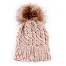 Baby Pom Pom Beanie Warm Knitted Bobble Kids Fur Pompom Hat Children Real Raccoon Fur Pompon Winter Hat Cap