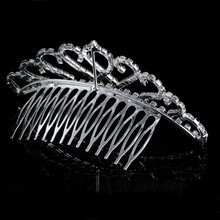 100% brand new and high quality Wedding Bridal Tiara Rhinestone Pearl Crystal Crown Pageant Hair Comb Headband(China)