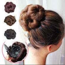 Easy Clip In Big Flower Hair Bun Chignon With Plastic Comb Synthetic Hair Bun Black Brown wigs