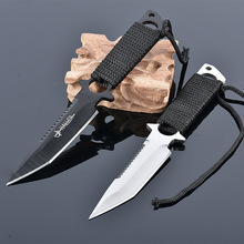 Brand New Military Diving Knife Camping knives tools Stainless Steel Blade 440C Leggings Knife with Nylon Sheath(China)