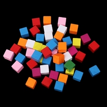 50Pcs/Bag Colourful Wooden Cubes Square Blocks Craft Decoration Embellishments DIY