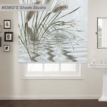 MOMO Painting Window Curtains Roller Shades Blinds Thermal Insulated Blackout Fabric Custom Size, PRB set393(China)