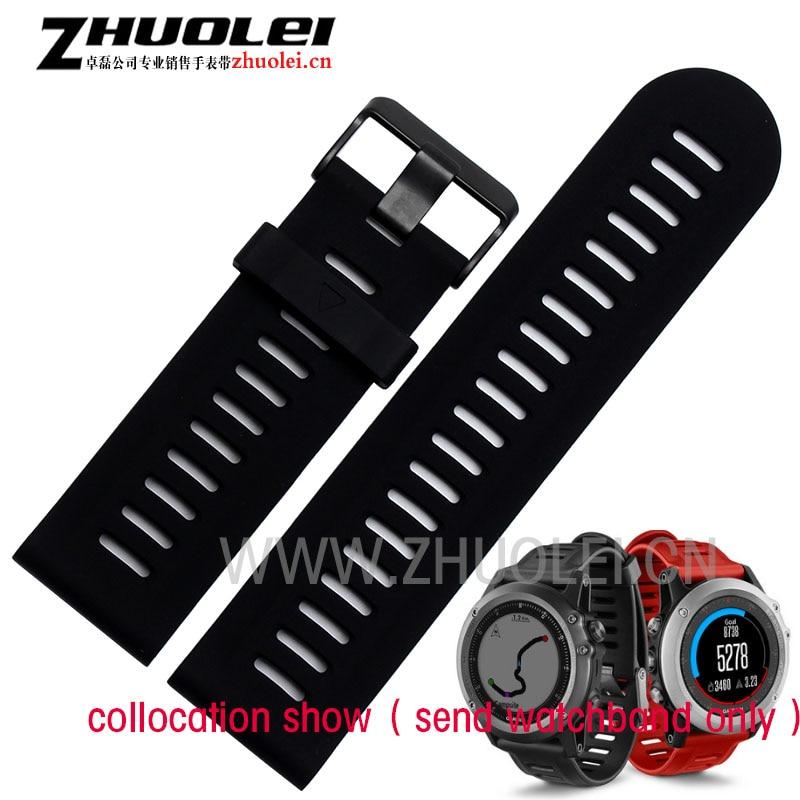 rubber strap 26mm Waterproof Soft Watchbands Rubber Replacement Sport Garmim Fenix3 Wristwatchband red|black|dark blue <br><br>Aliexpress