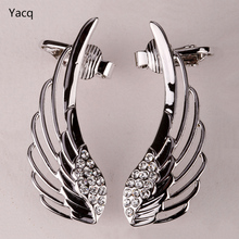 YACQ Angel Wings Ear Wrap Clip Cuff Earrings Australian Crystal Women Biker Jewelry Gifts Gold Silver Color Dropshipping SC08(China)