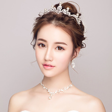 Trendy Simulated Pearl Pendant Necklace Bridal Wedding Jewelry Sets Princess Crown Tiara Women Party Bijoux Acessories Earrings