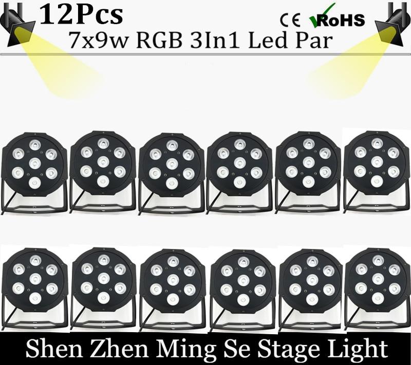12pcs/lots  7x9w led Par lights  RGB 3in1 flat par led dmx512  disco lights professional stage dj equipment fast shipping <br><br>Aliexpress