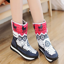 New fashion women snow boots 2017 cute deer print winter keep warm ladies cotton boots shoes