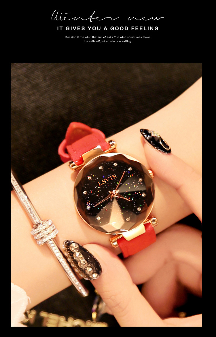 18 Luxury Brand Gogoey Women Watches Personality romantic starry sky Wrist Watch Leather Rhinestone Designer Ladies Red Clock 14
