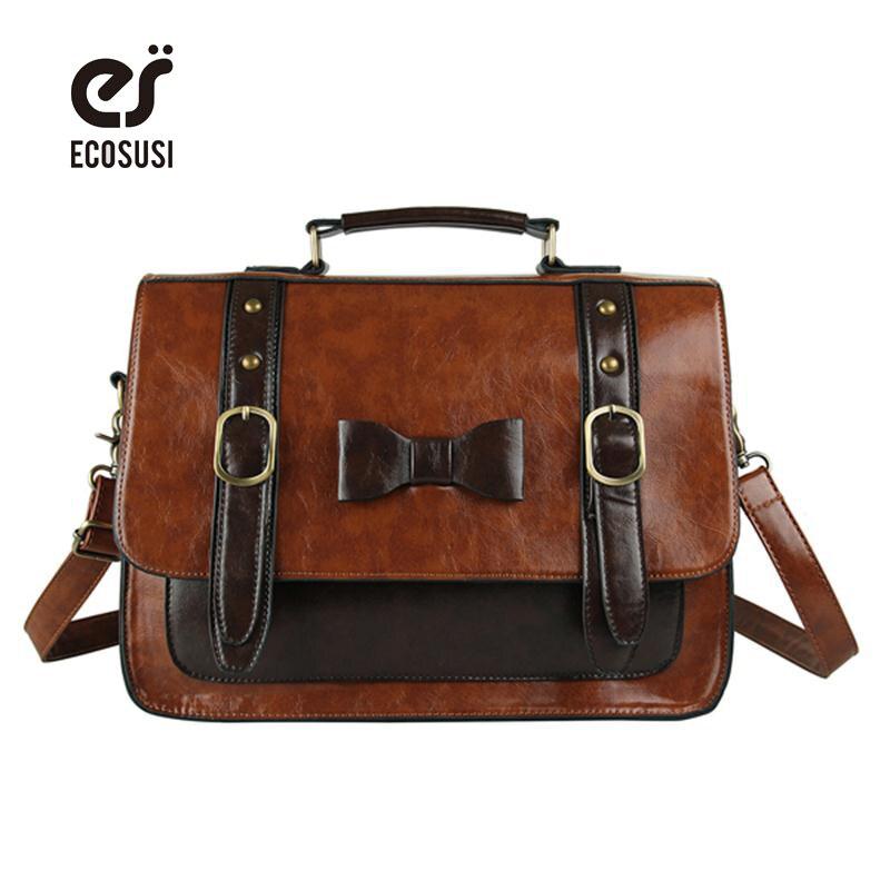 ECOSUSI New Leather Handbag Vintage Women Messenger Bag Crossbody Satchel Briefcase Bowknot Bolsas Femininas Messenger Bags<br>