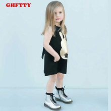 2017 small golden rabbit children summer cotton vest a foreign trade sleeveless T-shirt vest dress baby girls stamp rabbit lace(China)