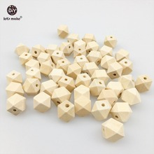 Let's Make Organic Wood Unfinished Geometric Teether Beads Wooden Octagon 50pc Baby Teether DIY Accessories 16mm(China)