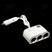 Waterproof Car Charger Splitter A Drag Turn Three Car Cigarette Lighter Dual USB Car Socket Power Adapter