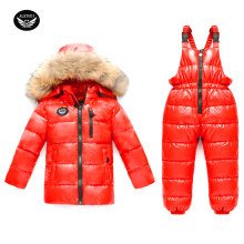 Children's Down Jacket Suit Girl Winter Ski Suit 2017 Russian Boy Ski Sports Down Jacket Set Fashion Kids Winter Suit Thicker