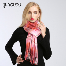 winter ladies scarves women high fashion poncho red plaid scarf poncho capes warm cotton women's knit wool scarf crinkle hijab(China)