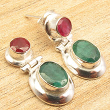 Silver Overlay Rubys & Emeralds 2 Stone Eye-Catching Art STUD Earrings 1 Inch