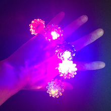 2017 New Costume Leds Led Light Strawberry Flashing Finger Ring Elastic Rubber Event Party Supplies Luminous Toys Decoration(China)