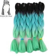 Desire for hair 10packs per lot 24inch 100g heat resistant synthetic ombre jumbo braiding hair extensions 3 tone green color(China)