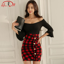 2017 Winter New Women Cloth Sexy Bodycon Mini Club Vestidos Strapless Plaid Patchwork Flare Sleeve Pencil Party Dress(China)