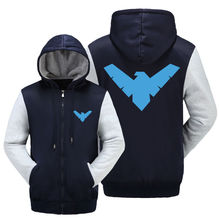 WISHOT Nightwing Logo Clothing Batman Hoodie Winter Jacket Fleece Mens Sweatshirts Thicken Zipper Fleece Coats Men Casual US SIZ