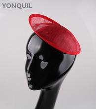 Free shipping 5Pcs/Lot 20cm red Sinamay Base Fascinator Hat  Hair Accessories Millinery Material  Handmade DIY craft Wholesale
