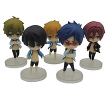 5Pcs/Lot Cute Japanese Anime Iwatobi Swim Club Rin Macoto Haruka Nanase Rei Doll Action Figures Model Toy Free Shipping