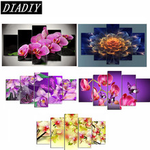 5pcs flowers 5D DIY Diamond Painting crystal orchid round Rhinestone Pasting home Decor Painting 5d Diamond Embroidery Mosaic