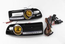 LED Daytime Lights And Yellow Fog Light Bumper Grille For 1999-2004 VW Jetta Bora MK4(China)