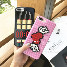 Cartoon Hearts DIY Legos Blocks Brick Plastic Phone Case for Phone 6 6S 6plus 7 Plus Cute Bomb  Cover 3D Hard Lego  Coque Fundas