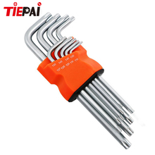 Tiepai 9 Piece Box End Wrench Tool Set Short Length Type Arm Torx Hex Key L-Shape Torx Wrench Set T10-T50 Torx Allen Wrench Set(China)