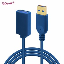 QGeeM USB 3.0 Cable 1M Gold plated USB3.0 Data Cable Extension Cord Extender For PC Laptop USB Cable Extender(China)