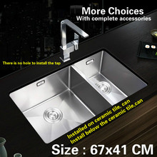 Free shipping Food grade 304 stainless steel kitchen sink thickness 1.2 mm double - groove durable 67x41 CM(China)