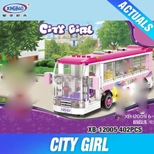 XINGBAO 12005 New 402Pcs City Girl Series The School Bus Set Building Blocks Bricks Educational Funny Toys Model For Kids Gifts(China)