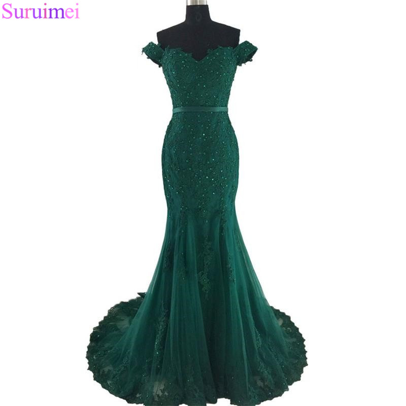 4 Off Shoulder Formal Evening Gowns 2018 Lace Appliques Beaded Mermaid Long Emerald Green Evening Gown Tulle Robe De Soiree vestido de noiva