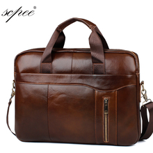 SCPEE Promotion simple brand name business men briefcase bag luxury leather laptop bag men shoulder bag(China)