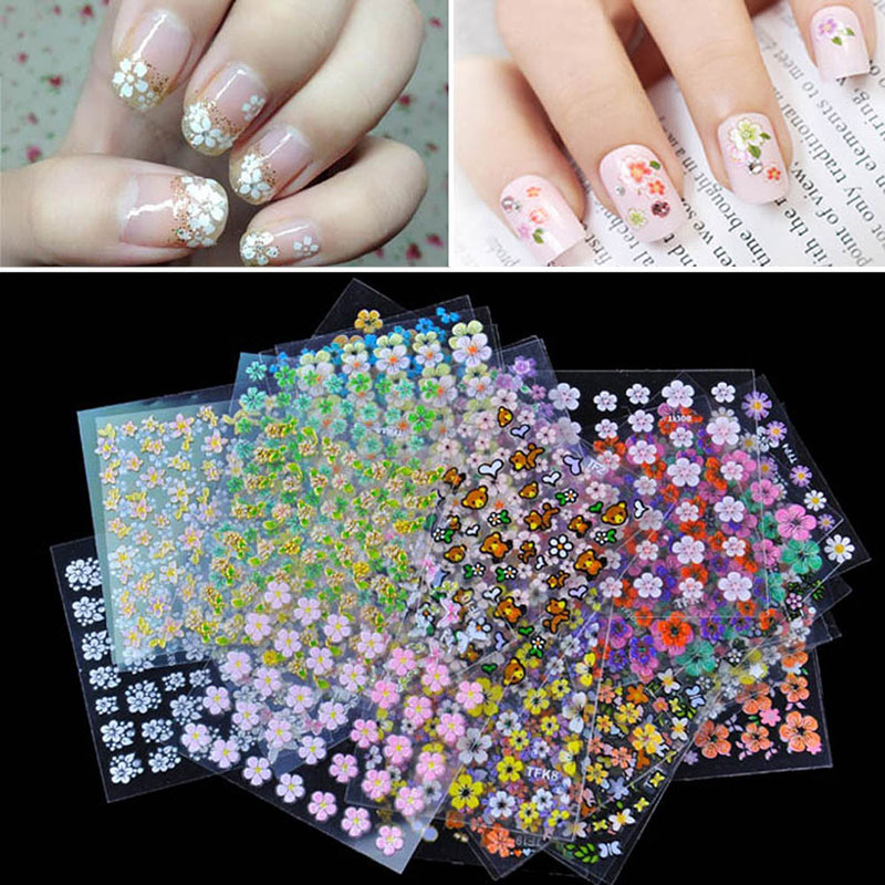 30 pcs Floral Design Manicure Transfer Nail Art Tips Stickers Decals 3D Flowers Beauty Tickers For Nails HB88(China (Mainland))