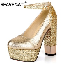 REAVE CAT Spring summer Sexy Gold Silver High Heel Party shoes Thick Patent leather Rhinestone Platforms Plus size 32-42 RL1190