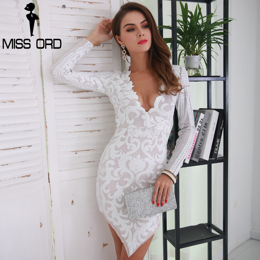 Missord 2017 Sexy V Neck Long Sleeve Geometric Slim Sequin Woman Elegant dress FT8567