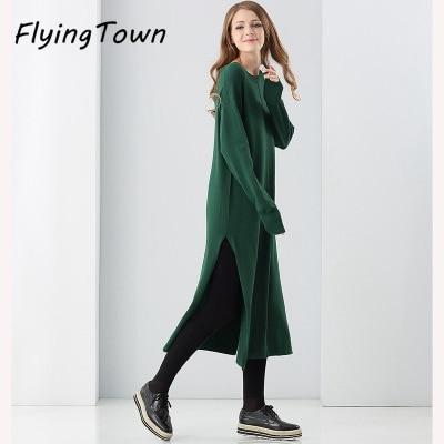 FlyingTown winter thick warm knitted dress for women beige/green plus size loose sweater dress knitwear female casual clothesÎäåæäà è àêñåññóàðû<br><br>