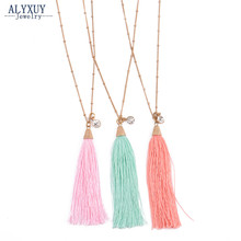 Boho Ethnic style cotton tassel dangle necklace New trendy jewelry gift N0007