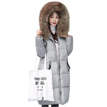 2017 New Women Jacket Thick Warm Winter Coat Large Fur Collar Cotton Coat Hooded Long Padded Jacket Female Plus Size PW0347
