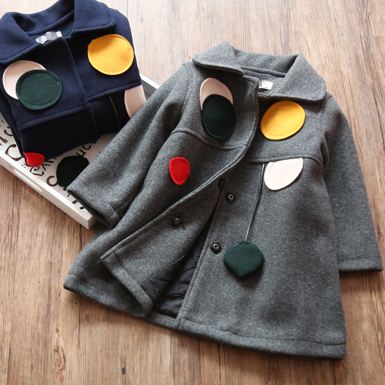 17068 2017 spring Baby Girl Coat solid Gray Appliques Fashion Girl Outerwear lolita Girls clothes <br>