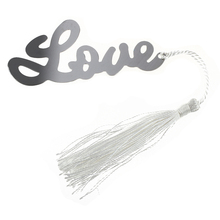SOSW-Wedding Favors Love Letters Bookmark Party Stainless Steel Tassels White(China)