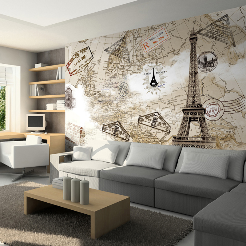 Tv background wall mural 3D wallpaper fashion Paris tower 3d