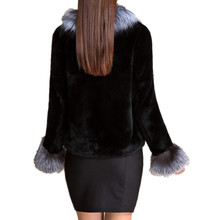 C148224-Autumn winter warm fashion coat of natural rex rabbit fur and silver fox, New plus size women natural fur coat(China)