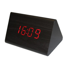 Wood Voice Control Alarm Digital LED Alarm Clock Thermometer Black + Red(China)